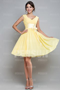 Ruching Sash V neck Chiffon Yellow A line Formal Dress