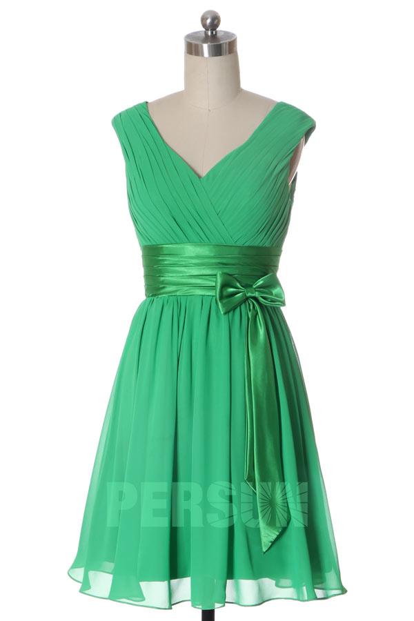 Robe cocktail courte pliss e ceintur e noeud papillon for Robe vert aqua pour mariage