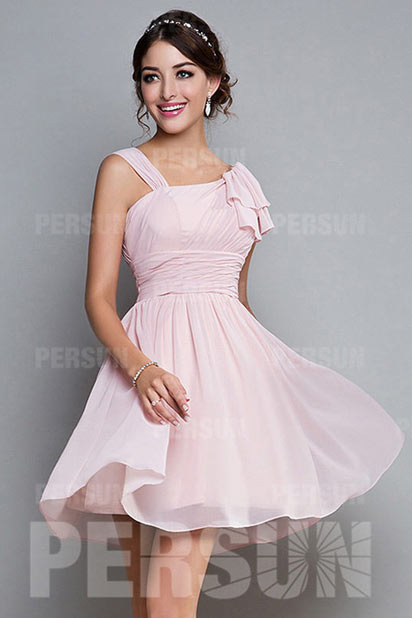 Ruched Straps Chiffon Pink A line Knee Length Bridesmaid Dress