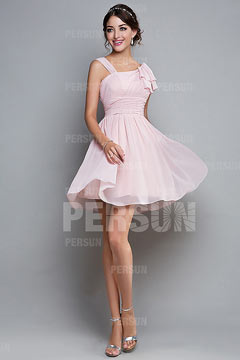 A line Strap Ruched Knee Length Pink Chiffon Homecoming Dress