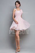 Ruched Straps Chiffon Pink A line Knee Length Formal Dress