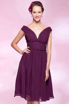 Leeds Chiffon Off Shoulder Ruched Knee Length A line Bridesmaid Gown