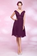 Ruched Off Shoulder Chiffon Knee Length A line Bridesmaid Dress