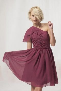 One Shoulder Ruched Chiffon Knee Length Cheap Graduation Dress