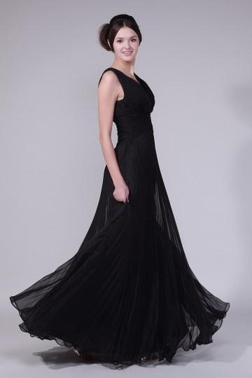 Longo Vestido de noite preto sublime decote em V plissado
