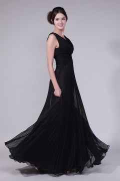 Simple Chiffon Black V Neck A Line Floor Length Evening Dress