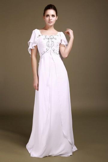 Vintages A-Linie rosa Chiffon langes Abendkleider mit Ärmel Persun