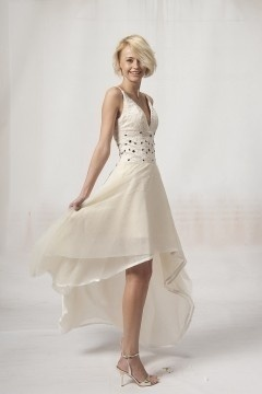 Luton V neck High Low Champagne Party Dress
