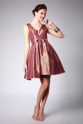 Straps Flower A-line Brown Taffeta Sheer Prom / Cocktail Dress