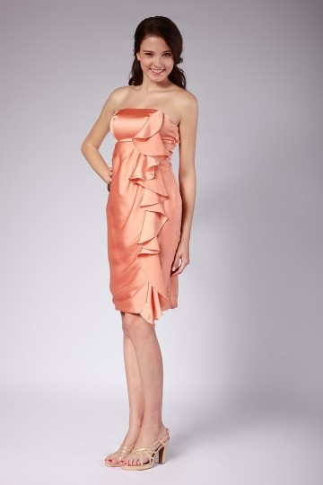 Vestido de Cóctel/Fiesta de baile de Satén Naranja Sin Tirantes Volante Corte Recto