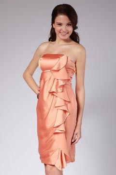 Liverpool Strapless Ruffle Orange Short Cocktail Dress