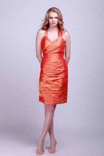 Vestido de Cóctel/Fiesta de baile de Tafetán Naranja con Escote Halter Volante Corte Recto