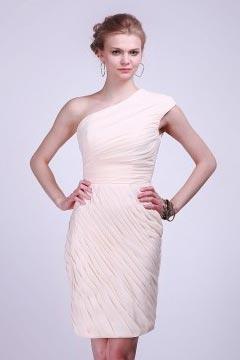 One Shoulder Ruched Short Chiffon Beige Cocktail Dress