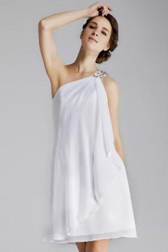 London Casual One Shoulder White Cocktail dress