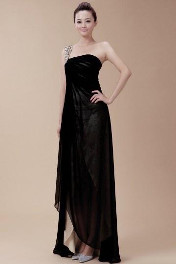 Elegnat Vestido de Noche/Fiesta de baile de Gasa Negro con Solo Hombro Corte A