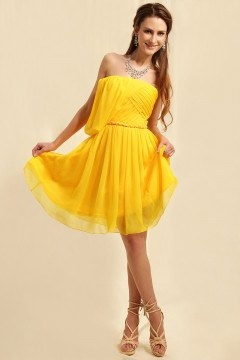 Long Eaton Strapless Pleats Knee Length Yellow Prom Gown