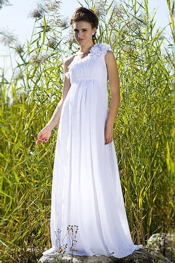 Vestido de noite branco um ombro plissado