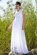 Vestido de Noche/Fiesta de baile de Gasa Blanco con Solo Hombro Plisado Imperio Corte A