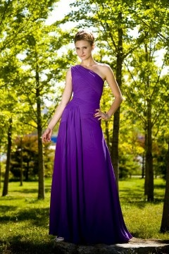 Chic Chiffon One Shoulder Ruching Long Purple Bridesmaid Dress