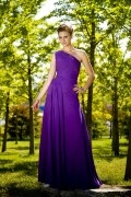 Chic Purple Column One Shoulder Chiffon Floor Length Formal Dress