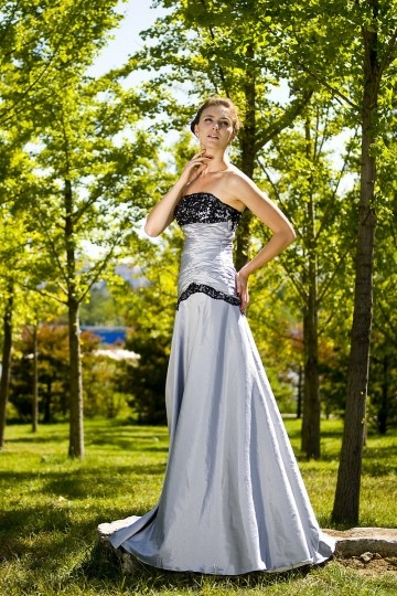 Strapless Silver Ruching Lace Trumpet Taffeta Prom / Evening Dress