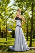 Taffeta Strapless Ruching Lace Trumpet Silver Bridesmaid Dress