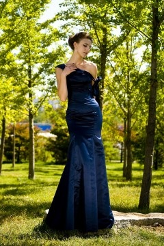 One Shoulder Fit and Flare Mermaid Satin Evening Dress UK