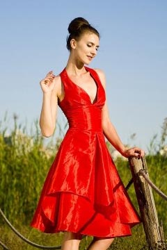 Macclesfield Taffeta Halter Tiers Empire Red Cocktail Dress