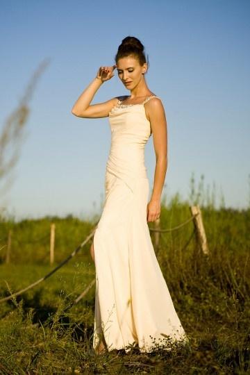 Vestido de Noche/Fiesta de baile Largo de Gasa crema con Tirantes Abalorio Apertura