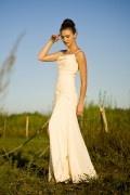 Chiffon Straps Beading Split Beige Long Prom / Evening Dress
