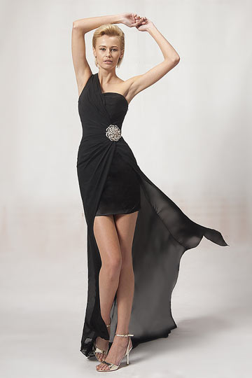 One Shoulder Black Beading High Low Chiffon Prom / Cocktail Dress