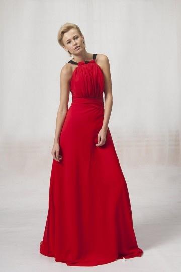 Vestido de Noche/Fiesta de baile de Gasa Rojo con Tirantes Plisado Imperio Corte A