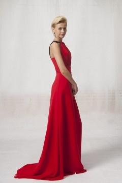 Maldon Straps Pleats Empire Red Evening Dress