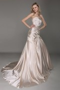 Satin Strapless Ruching Draping Champagne Wedding Dress