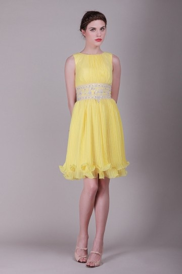 Dressesmall Sleeveless Yellow tone Bateau Beading Pleats Short Formal dress