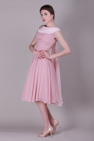 Boatneck Pink Ruching Pleats Knee Length Chiffon Prom / Cocktail Dress
