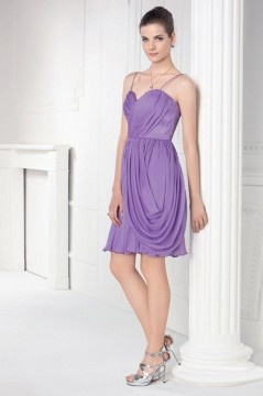 Lewes Chiffon Spaghetti Straps Ruching Purple Column Cocktail Dress