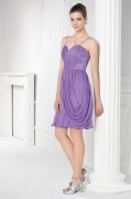 Chic Purple Chiffon Spaghetti Straps Ruching Short Formal Bridesmaid Dress