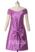 Satin Off Shoulder Knee Length Wedding Party Dress With Big Bowknot