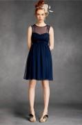Vestido de Cóctel de Gasa Azul con Escote Corazón Plisado Fajines Marino Corte A