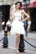 Corte A Imperio Sin Tirantes Escote Palabra de Honor Volantes Cordón Plisado Gasa Corto Vestido de Fiesta Boda