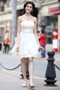 White Strapless Ruching Ruffles Chiffon Short Bridesmaid Dress