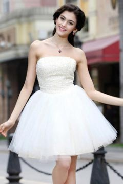 Beautiful Tulle Puff Skirt Lace Up Short White Homecoming Dress