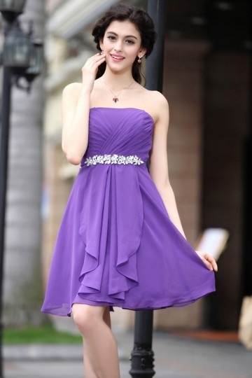 Empire Pleats Crystal Detailing Ruffle Chiffon Short Bridesmaid Gown