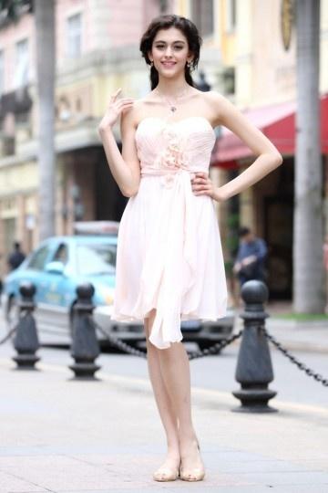 Corte A Escote Corazón Sin Tirantes Flores Hecho a Mano Volante Cordón Gasa Corto Prom Vestido|Vestido de Regreso