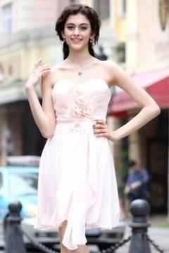 Sweetheart Strapless Flower Knee Length Cheap Prom Dress UK
