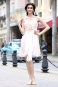A line Sweetheart Strapless Flower Ruching Belt Chiffon Short Cocktail Dress