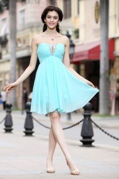 Strapless Keyhole Pleats Short Chiffon Mint Homecoming Dress