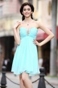 A line Empire Boatneck Strapless Hollow Beading Pleats Chiffon Short Prom / Homecoming Dresses