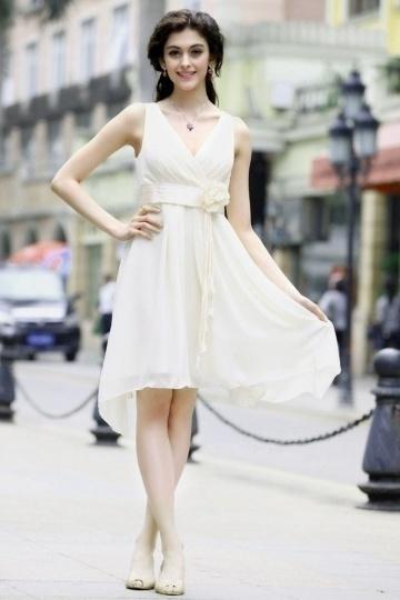 Corte A Escote en V Plisados en Cordón Flores Hecho a Mano Gasa Corto Vestido de Regreso|Prom Vestido